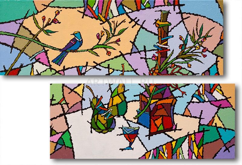 Модульная картина «Витраж»Абстракция<br>Модульная картина на натуральном холсте и деревянном подрамнике. Подвес в комплекте. Трехслойная надежная упаковка. Доставим в любую точку России. Вам осталось только повесить картину на стену!<br>