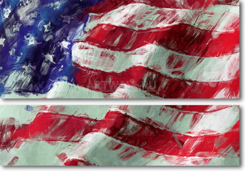 Модульная картина «Американский флаг»Абстракция<br>Модульная картина на натуральном холсте и деревянном подрамнике. Подвес в комплекте. Трехслойная надежная упаковка. Доставим в любую точку России. Вам осталось только повесить картину на стену!<br>