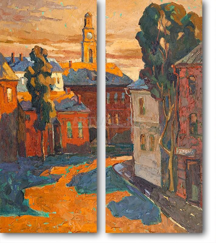 Модульная картина «Городок»Города<br>Модульная картина на натуральном холсте и деревянном подрамнике. Подвес в комплекте. Трехслойная надежная упаковка. Доставим в любую точку России. Вам осталось только повесить картину на стену!<br>