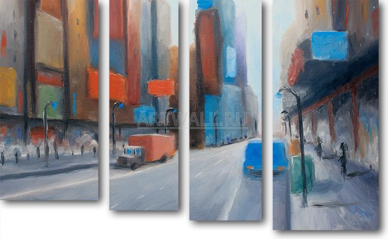 Модульная картина «Утренний город»Города<br>Модульная картина на натуральном холсте и деревянном подрамнике. Подвес в комплекте. Трехслойная надежная упаковка. Доставим в любую точку России. Вам осталось только повесить картину на стену!<br>
