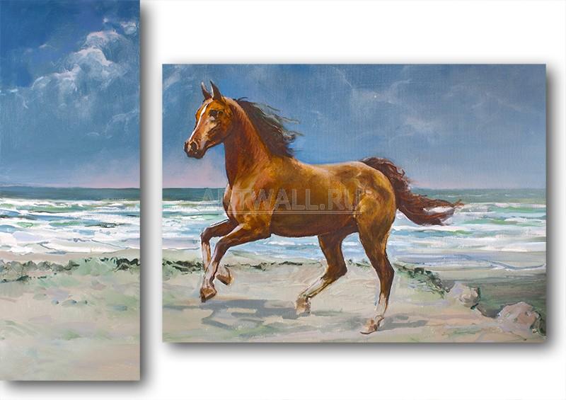 Модульная картина «Лошадь на берегу моря»Животные и птицы<br>Модульная картина на натуральном холсте и деревянном подрамнике. Подвес в комплекте. Трехслойная надежная упаковка. Доставим в любую точку России. Вам осталось только повесить картину на стену!<br>