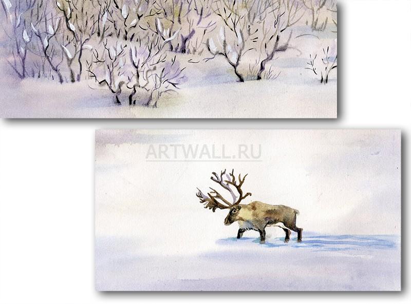 Модульная картина «Олень на снегу»Животные и птицы<br>Модульная картина на натуральном холсте и деревянном подрамнике. Подвес в комплекте. Трехслойная надежная упаковка. Доставим в любую точку России. Вам осталось только повесить картину на стену!<br>