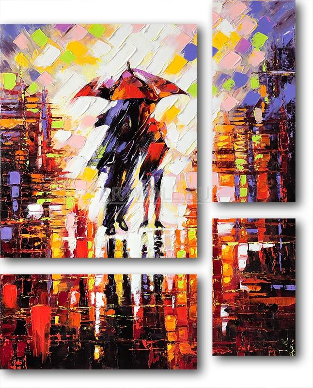 Модульная картина «Пара под дождем»Люди<br>Модульная картина на натуральном холсте и деревянном подрамнике. Подвес в комплекте. Трехслойная надежная упаковка. Доставим в любую точку России. Вам осталось только повесить картину на стену!<br>
