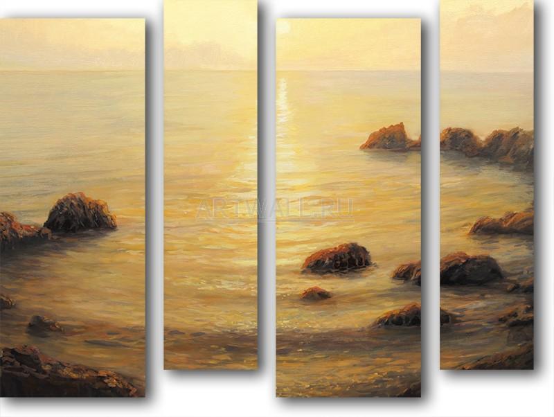 Модульная картина «Океан и камни»Море<br>Модульная картина на натуральном холсте и деревянном подрамнике. Подвес в комплекте. Трехслойная надежная упаковка. Доставим в любую точку России. Вам осталось только повесить картину на стену!<br>