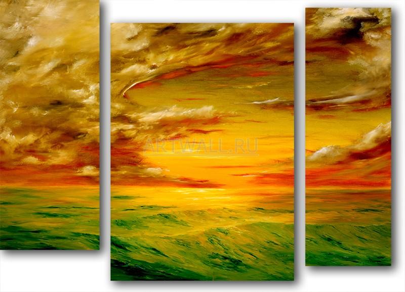 Модульная картина «Вечерний отлив»Море<br>Модульная картина на натуральном холсте и деревянном подрамнике. Подвес в комплекте. Трехслойная надежная упаковка. Доставим в любую точку России. Вам осталось только повесить картину на стену!<br>
