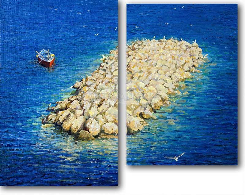 Модульная картина «Каменный остров»Море<br>Модульная картина на натуральном холсте и деревянном подрамнике. Подвес в комплекте. Трехслойная надежная упаковка. Доставим в любую точку России. Вам осталось только повесить картину на стену!<br>
