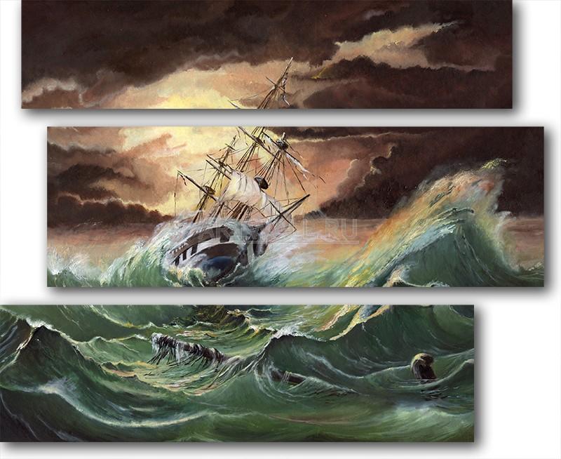 Модульная картина «Шторм на море»Море<br>Модульная картина на натуральном холсте и деревянном подрамнике. Подвес в комплекте. Трехслойная надежная упаковка. Доставим в любую точку России. Вам осталось только повесить картину на стену!<br>