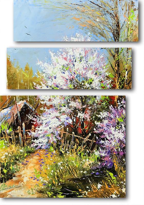 Модульная картина «Старый дом»Природа<br>Модульная картина на натуральном холсте и деревянном подрамнике. Подвес в комплекте. Трехслойная надежная упаковка. Доставим в любую точку России. Вам осталось только повесить картину на стену!<br>