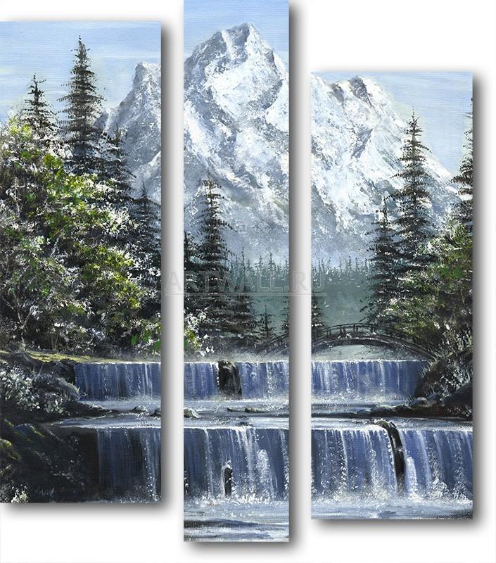 Модульная картина «Горный водопад»Природа<br>Модульная картина на натуральном холсте и деревянном подрамнике. Подвес в комплекте. Трехслойная надежная упаковка. Доставим в любую точку России. Вам осталось только повесить картину на стену!<br>