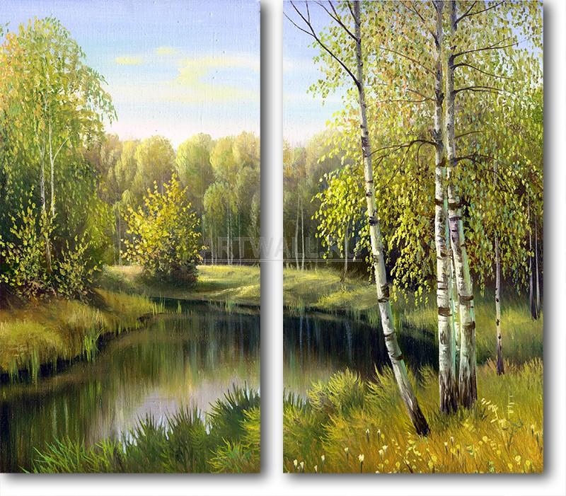 Модульная картина «Тихая осень»Природа<br>Модульная картина на натуральном холсте и деревянном подрамнике. Подвес в комплекте. Трехслойная надежная упаковка. Доставим в любую точку России. Вам осталось только повесить картину на стену!<br>