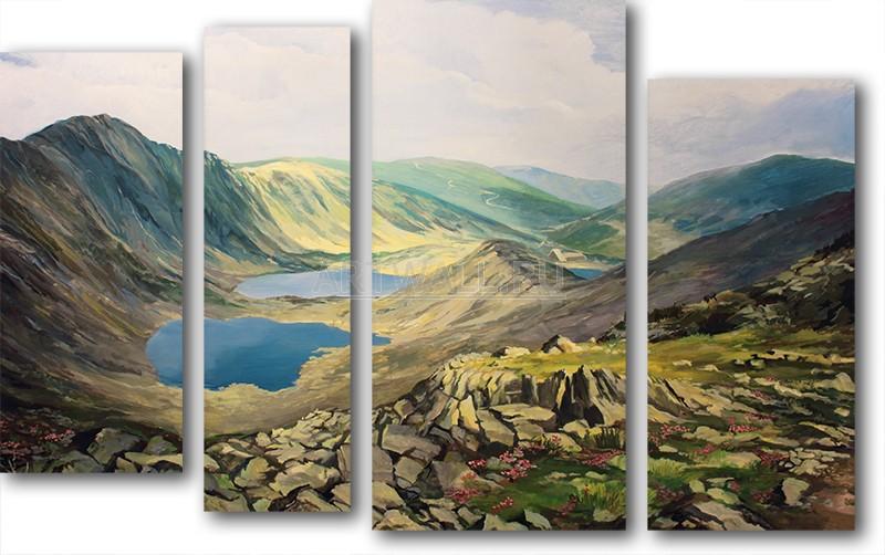 Модульная картина «Горные озера»Природа<br>Модульная картина на натуральном холсте и деревянном подрамнике. Подвес в комплекте. Трехслойная надежная упаковка. Доставим в любую точку России. Вам осталось только повесить картину на стену!<br>