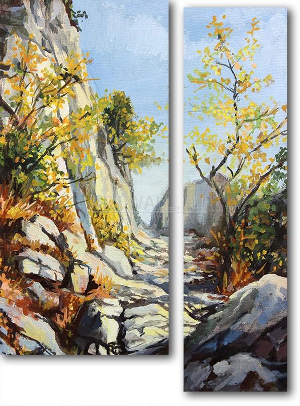 Модульная картина «Дорога в ущелье»Природа<br>Модульная картина на натуральном холсте и деревянном подрамнике. Подвес в комплекте. Трехслойная надежная упаковка. Доставим в любую точку России. Вам осталось только повесить картину на стену!<br>