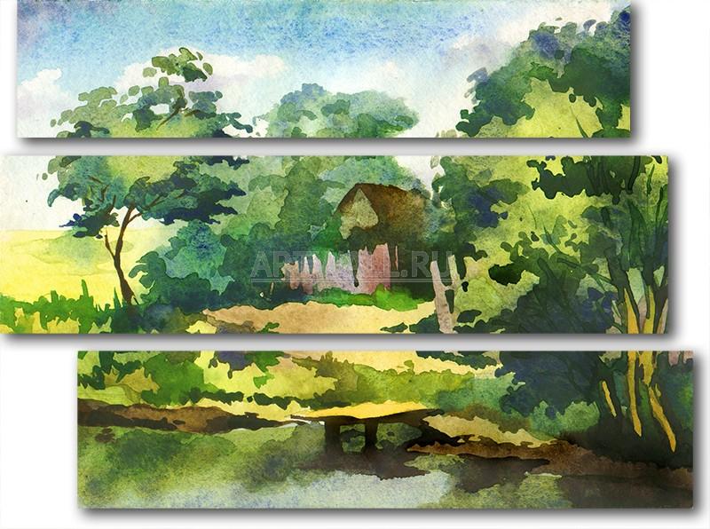 Модульная картина «Домик в деревне»Природа<br>Модульная картина на натуральном холсте и деревянном подрамнике. Подвес в комплекте. Трехслойная надежная упаковка. Доставим в любую точку России. Вам осталось только повесить картину на стену!<br>