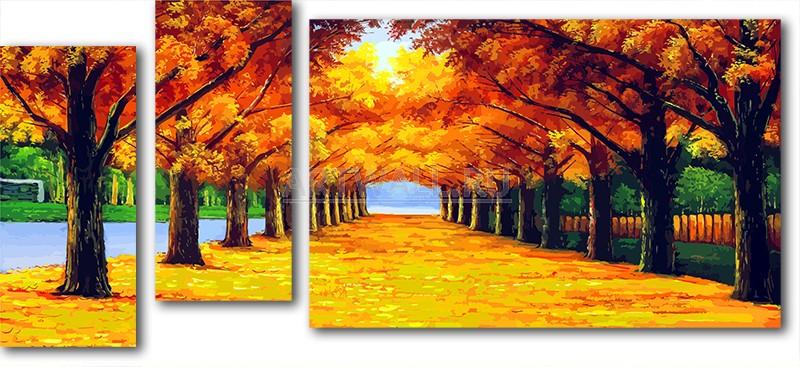 Модульная картина «Осенняя прогулка», 109x50 см, модульная картинаПрирода<br>Модульная картина на натуральном холсте и деревянном подрамнике. Подвес в комплекте. Трехслойная надежная упаковка. Доставим в любую точку России. Вам осталось только повесить картину на стену!<br>