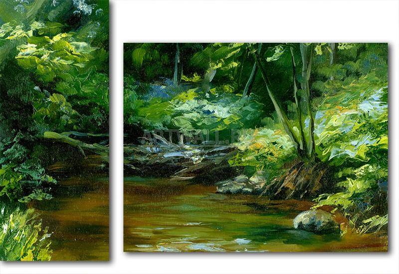 Модульная картина «Лесной пруд»Природа<br>Модульная картина на натуральном холсте и деревянном подрамнике. Подвес в комплекте. Трехслойная надежная упаковка. Доставим в любую точку России. Вам осталось только повесить картину на стену!<br>