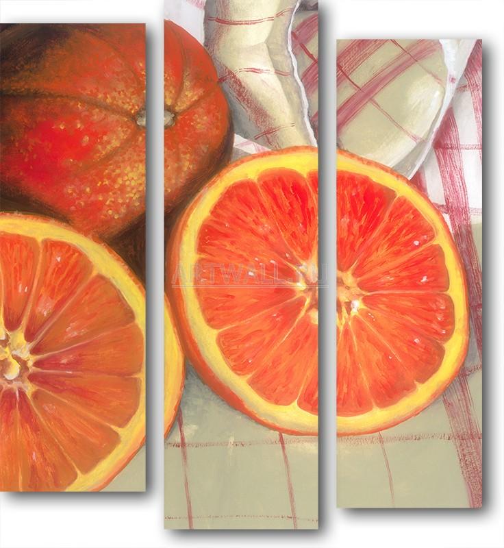 Модульная картина «Апельсиновый натюрморт»Фрукты<br>Модульная картина на натуральном холсте и деревянном подрамнике. Подвес в комплекте. Трехслойная надежная упаковка. Доставим в любую точку России. Вам осталось только повесить картину на стену!<br>