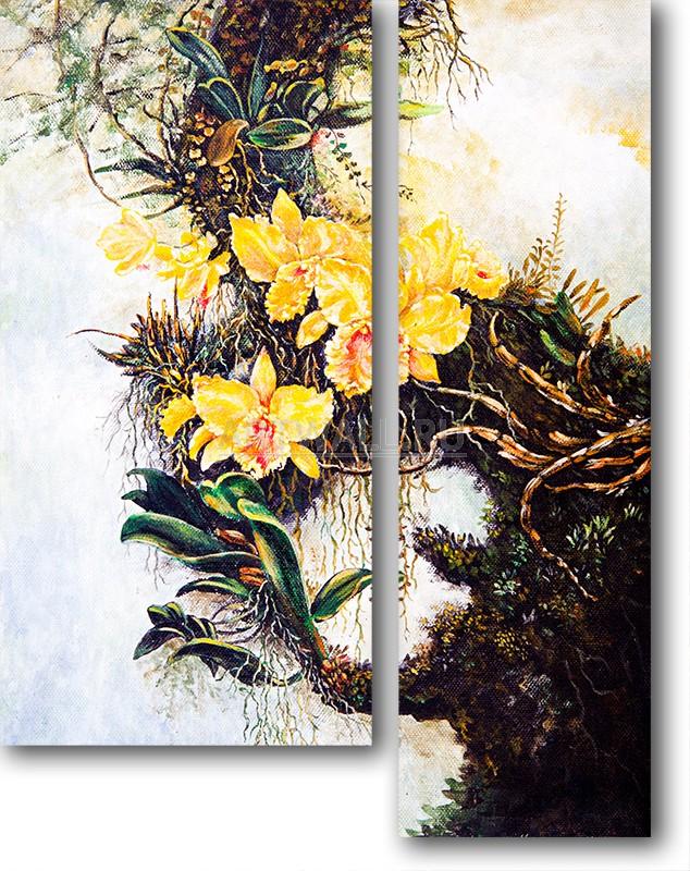 Модульная картина «Волшебный цветок»Цветы<br>Модульная картина на натуральном холсте и деревянном подрамнике. Подвес в комплекте. Трехслойная надежная упаковка. Доставим в любую точку России. Вам осталось только повесить картину на стену!<br>
