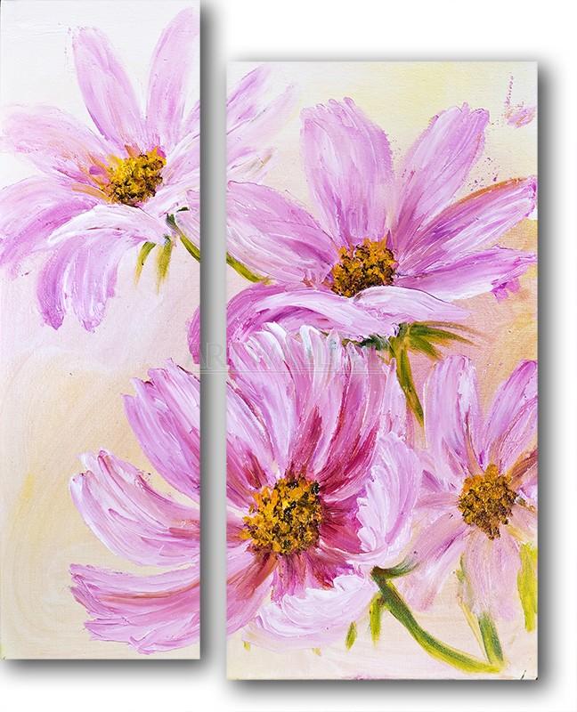 Модульная картина «Розовая романтика»Цветы<br>Модульная картина на натуральном холсте и деревянном подрамнике. Подвес в комплекте. Трехслойная надежная упаковка. Доставим в любую точку России. Вам осталось только повесить картину на стену!<br>