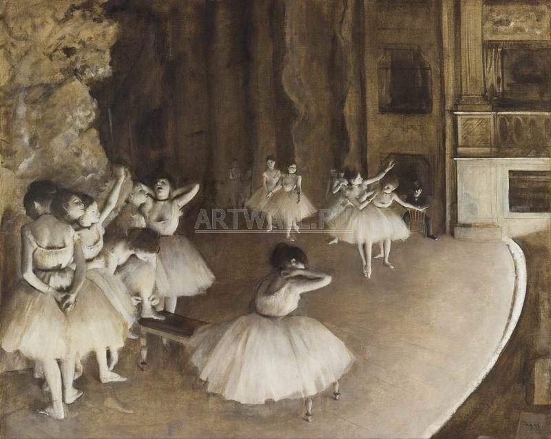 Дега Эдгар, картина Репетиция балета на сценеДега Эдгар<br>Репродукция на холсте или бумаге. Любого нужного вам размера. В раме или без. Подвес в комплекте. Трехслойная надежная упаковка. Доставим в любую точку России. Вам осталось только повесить картину на стену!<br>