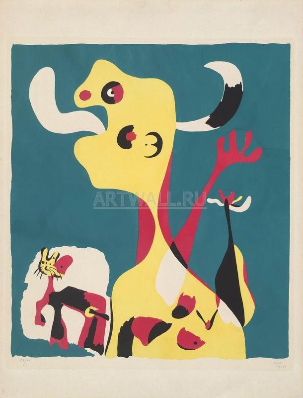 Миро Хоан, картина Женщина и собака перед лунойМиро Хоан<br>Репродукция на холсте или бумаге. Любого нужного вам размера. В раме или без. Подвес в комплекте. Трехслойная надежная упаковка. Доставим в любую точку России. Вам осталось только повесить картину на стену!<br>