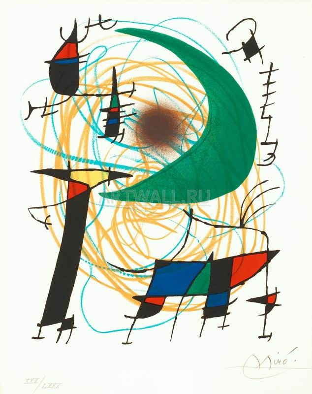 Миро Хоан, картина Зеленая лунаМиро Хоан<br>Репродукция на холсте или бумаге. Любого нужного вам размера. В раме или без. Подвес в комплекте. Трехслойная надежная упаковка. Доставим в любую точку России. Вам осталось только повесить картину на стену!<br>