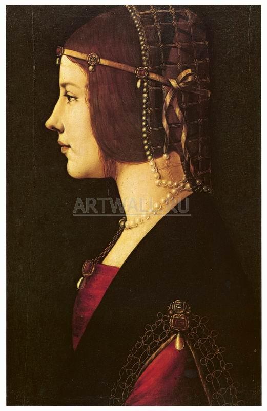 Да Винчи Леонардо, картина Женский портретДа Винчи Леонардо<br>Репродукция на холсте или бумаге. Любого нужного вам размера. В раме или без. Подвес в комплекте. Трехслойная надежная упаковка. Доставим в любую точку России. Вам осталось только повесить картину на стену!<br>