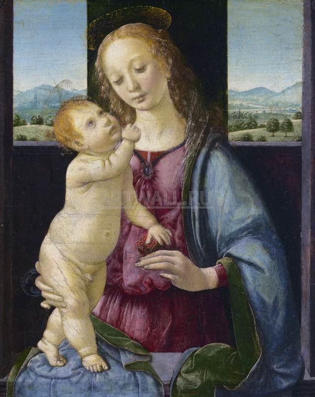 Да Винчи Леонардо, картина Мадонна Дрейфуса, совместно с Лоренцо ди КредиДа Винчи Леонардо<br>Репродукция на холсте или бумаге. Любого нужного вам размера. В раме или без. Подвес в комплекте. Трехслойная надежная упаковка. Доставим в любую точку России. Вам осталось только повесить картину на стену!<br>