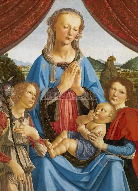 Да Винчи Леонардо, картина Мадонна с младенцем и двумя ангелами, совместно с ВеррокьоДа Винчи Леонардо<br>Репродукция на холсте или бумаге. Любого нужного вам размера. В раме или без. Подвес в комплекте. Трехслойная надежная упаковка. Доставим в любую точку России. Вам осталось только повесить картину на стену!<br>