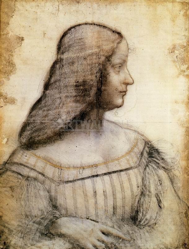 Да Винчи Леонардо, картина Портрет Изабеллы де ЭстеДа Винчи Леонардо<br>Репродукция на холсте или бумаге. Любого нужного вам размера. В раме или без. Подвес в комплекте. Трехслойная надежная упаковка. Доставим в любую точку России. Вам осталось только повесить картину на стену!<br>