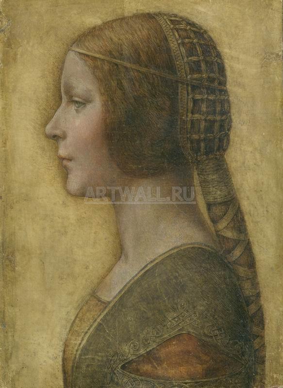 Да Винчи Леонардо, картина Портрет невесты в профильДа Винчи Леонардо<br>Репродукция на холсте или бумаге. Любого нужного вам размера. В раме или без. Подвес в комплекте. Трехслойная надежная упаковка. Доставим в любую точку России. Вам осталось только повесить картину на стену!<br>