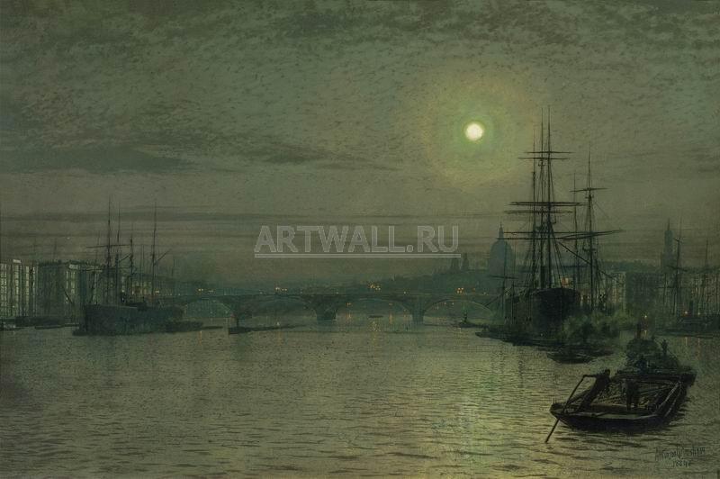 Гримшоу Джон Эткинсон, картина Лондонский мост ночьюГримшоу Джон Эткинсон<br>Репродукция на холсте или бумаге. Любого нужного вам размера. В раме или без. Подвес в комплекте. Трехслойная надежная упаковка. Доставим в любую точку России. Вам осталось только повесить картину на стену!<br>