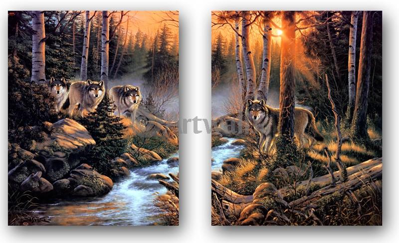 Модульная картина «Волки», 82x50 см, модульная картинаЖивотные и птицы<br>Модульная картина на натуральном холсте и деревянном подрамнике. Подвес в комплекте. Трехслойная надежная упаковка. Доставим в любую точку России. Вам осталось только повесить картину на стену!<br>