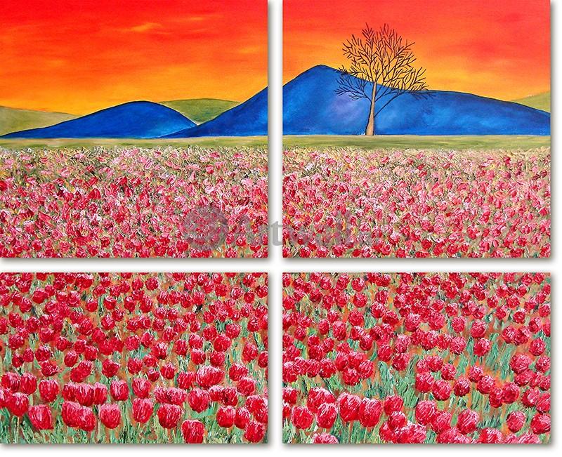 Модульная картина «Поле маков и синие горы»Природа<br>Модульная картина на натуральном холсте и деревянном подрамнике. Подвес в комплекте. Трехслойная надежная упаковка. Доставим в любую точку России. Вам осталось только повесить картину на стену!<br>