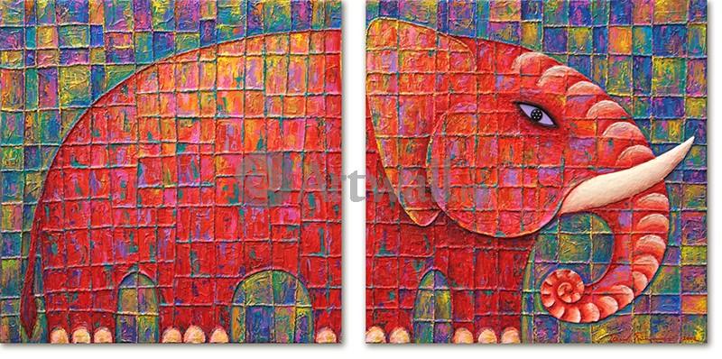 Модульная картина «Красный слон»Животные и птицы<br>Модульная картина на натуральном холсте и деревянном подрамнике. Подвес в комплекте. Трехслойная надежная упаковка. Доставим в любую точку России. Вам осталось только повесить картину на стену!<br>