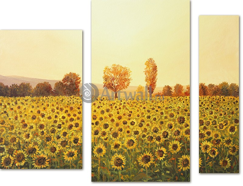 Модульная картина «Поле подсолнухов»Цветы<br>Модульная картина на натуральном холсте и деревянном подрамнике. Подвес в комплекте. Трехслойная надежная упаковка. Доставим в любую точку России. Вам осталось только повесить картину на стену!<br>