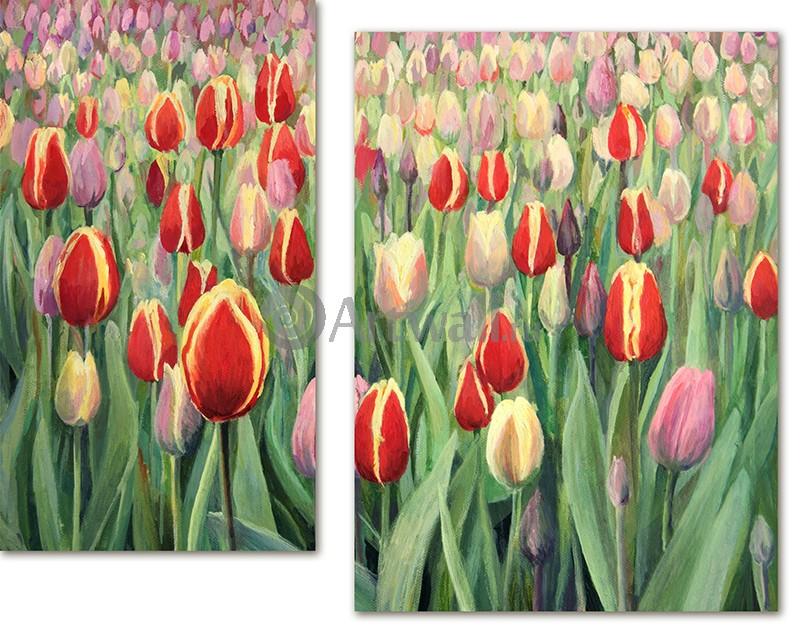 Модульная картина «Поле тюльпанов»Цветы<br>Модульная картина на натуральном холсте и деревянном подрамнике. Подвес в комплекте. Трехслойная надежная упаковка. Доставим в любую точку России. Вам осталось только повесить картину на стену!<br>