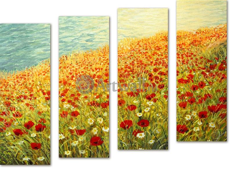 Модульная картина «Цветочное поле»Природа<br>Модульная картина на натуральном холсте и деревянном подрамнике. Подвес в комплекте. Трехслойная надежная упаковка. Доставим в любую точку России. Вам осталось только повесить картину на стену!<br>