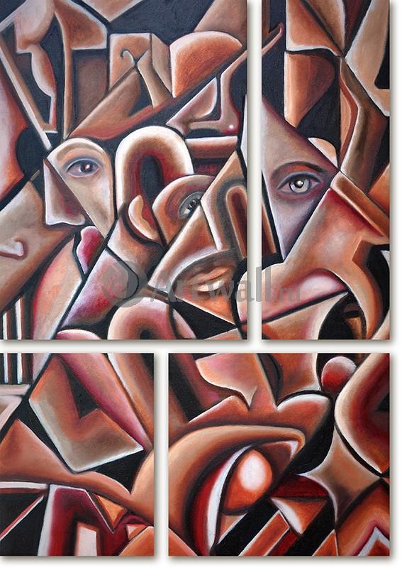 Модульная картина «Части лиц»Абстракция<br>Модульная картина на натуральном холсте и деревянном подрамнике. Подвес в комплекте. Трехслойная надежная упаковка. Доставим в любую точку России. Вам осталось только повесить картину на стену!<br>
