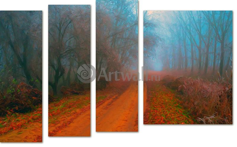 Модульная картина «Лесная дорога в тумане», 81x50 см, модульная картинаПрирода<br>Модульная картина на натуральном холсте и деревянном подрамнике. Подвес в комплекте. Трехслойная надежная упаковка. Доставим в любую точку России. Вам осталось только повесить картину на стену!<br>