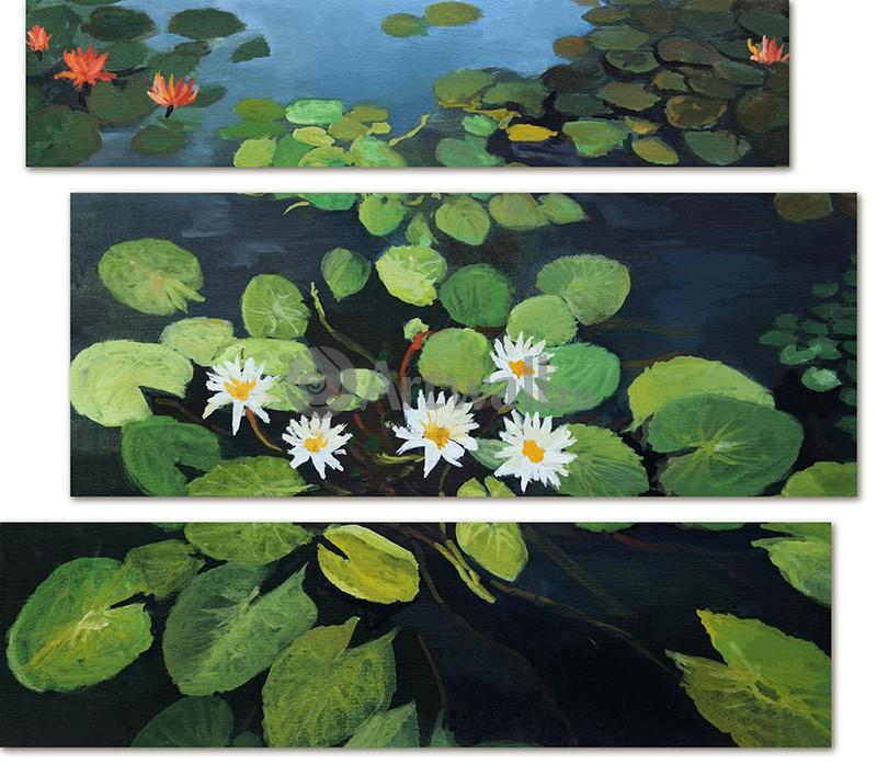 Модульная картина «Лилии в пруду»Природа<br>Модульная картина на натуральном холсте и деревянном подрамнике. Подвес в комплекте. Трехслойная надежная упаковка. Доставим в любую точку России. Вам осталось только повесить картину на стену!<br>