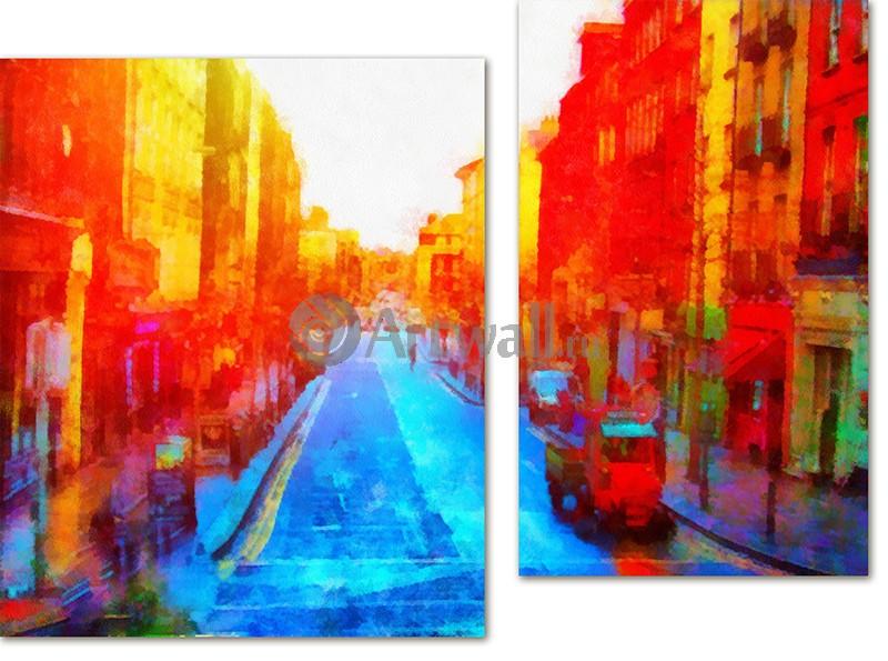 Модульная картина «Рассвет в городе»Города<br>Модульная картина на натуральном холсте и деревянном подрамнике. Подвес в комплекте. Трехслойная надежная упаковка. Доставим в любую точку России. Вам осталось только повесить картину на стену!<br>