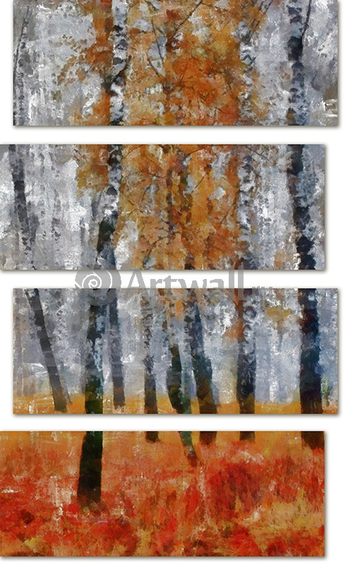 Модульная картина «Березовая роща»Природа<br>Модульная картина на натуральном холсте и деревянном подрамнике. Подвес в комплекте. Трехслойная надежная упаковка. Доставим в любую точку России. Вам осталось только повесить картину на стену!<br>