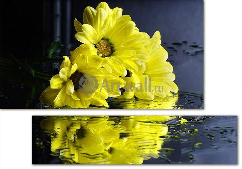 Модульная картина «Желтые хризантемы», 72x50 см, модульная картинаЦветы<br>Модульная картина на натуральном холсте и деревянном подрамнике. Подвес в комплекте. Трехслойная надежная упаковка. Доставим в любую точку России. Вам осталось только повесить картину на стену!<br>