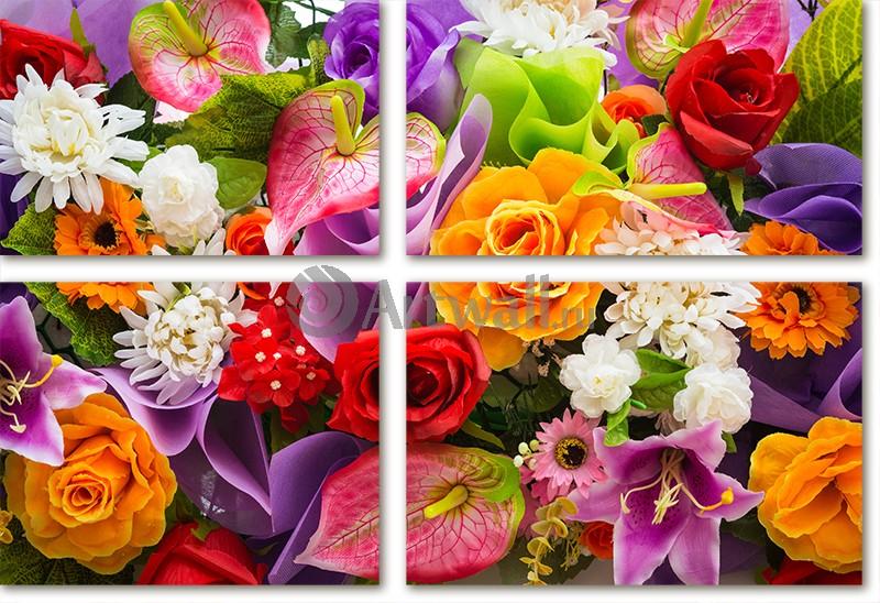 Модульная картина «Праздничный букет»Цветы<br>Модульная картина на натуральном холсте и деревянном подрамнике. Подвес в комплекте. Трехслойная надежная упаковка. Доставим в любую точку России. Вам осталось только повесить картину на стену!<br>