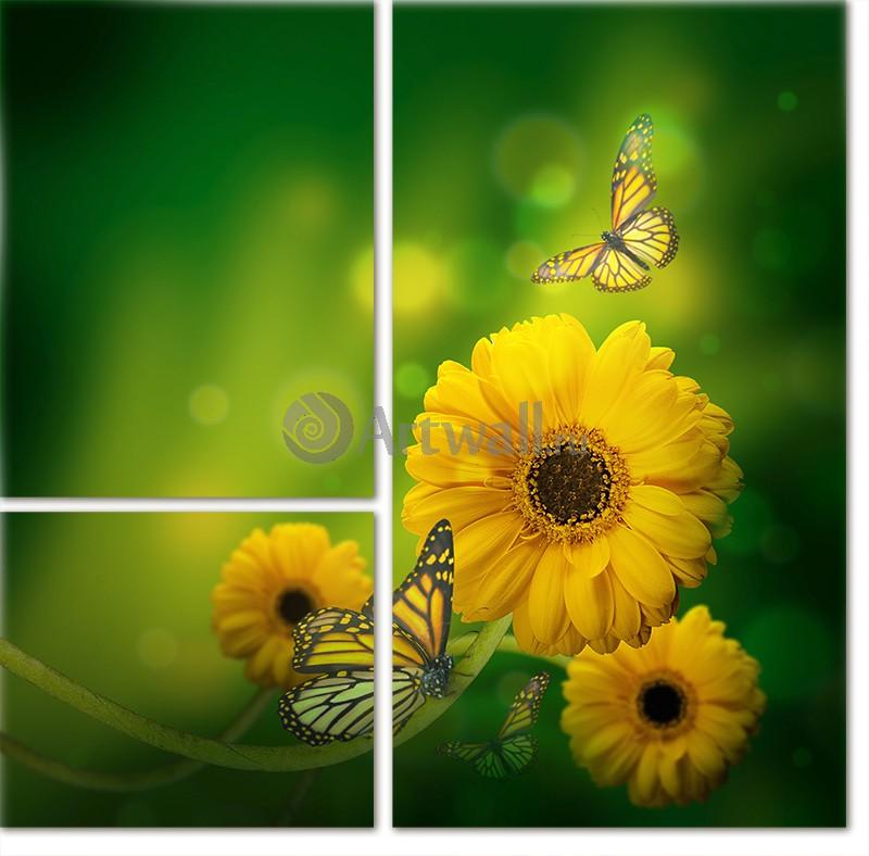 Модульная картина «Три бабочки»Цветы<br>Модульная картина на натуральном холсте и деревянном подрамнике. Подвес в комплекте. Трехслойная надежная упаковка. Доставим в любую точку России. Вам осталось только повесить картину на стену!<br>