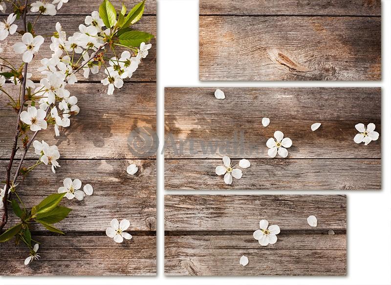 Модульная картина «Ветка вишни»Цветы<br>Модульная картина на натуральном холсте и деревянном подрамнике. Подвес в комплекте. Трехслойная надежная упаковка. Доставим в любую точку России. Вам осталось только повесить картину на стену!<br>