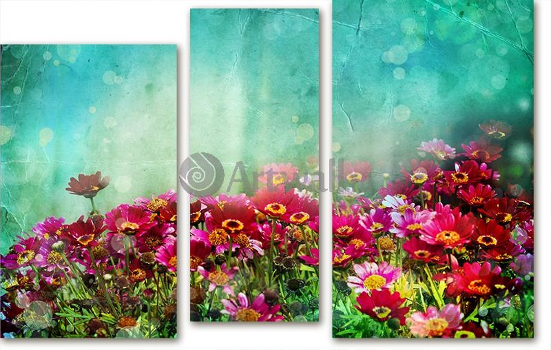 Модульная картина «Волшебный луг»Цветы<br>Модульная картина на натуральном холсте и деревянном подрамнике. Подвес в комплекте. Трехслойная надежная упаковка. Доставим в любую точку России. Вам осталось только повесить картину на стену!<br>