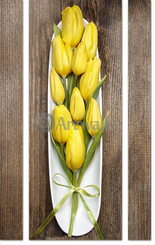 Модульная картина «Тюльпаны поданы»Цветы<br>Модульная картина на натуральном холсте и деревянном подрамнике. Подвес в комплекте. Трехслойная надежная упаковка. Доставим в любую точку России. Вам осталось только повесить картину на стену!<br>