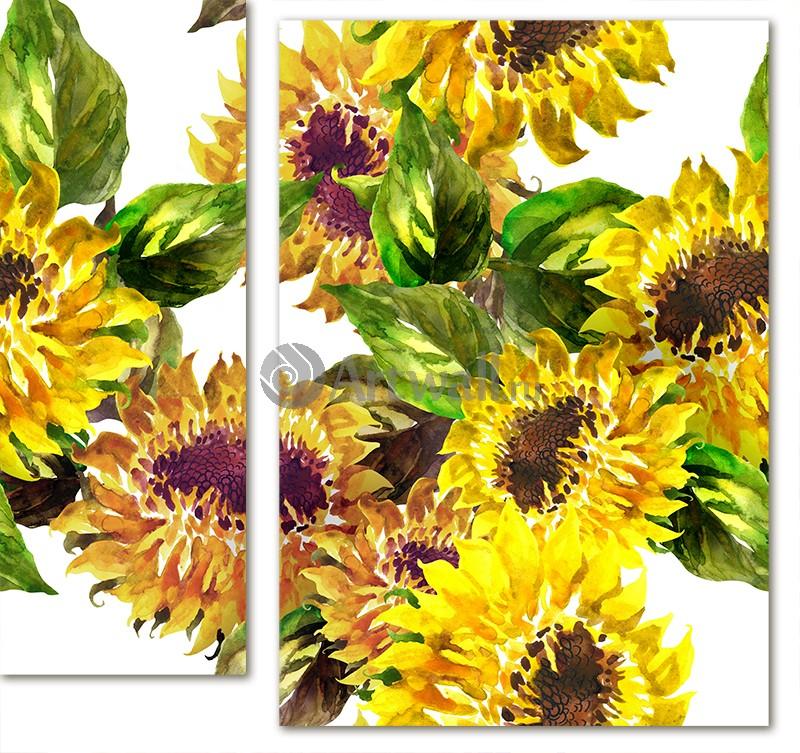 Модульная картина «Цветы подсолнуха»Цветы<br>Модульная картина на натуральном холсте и деревянном подрамнике. Подвес в комплекте. Трехслойная надежная упаковка. Доставим в любую точку России. Вам осталось только повесить картину на стену!<br>