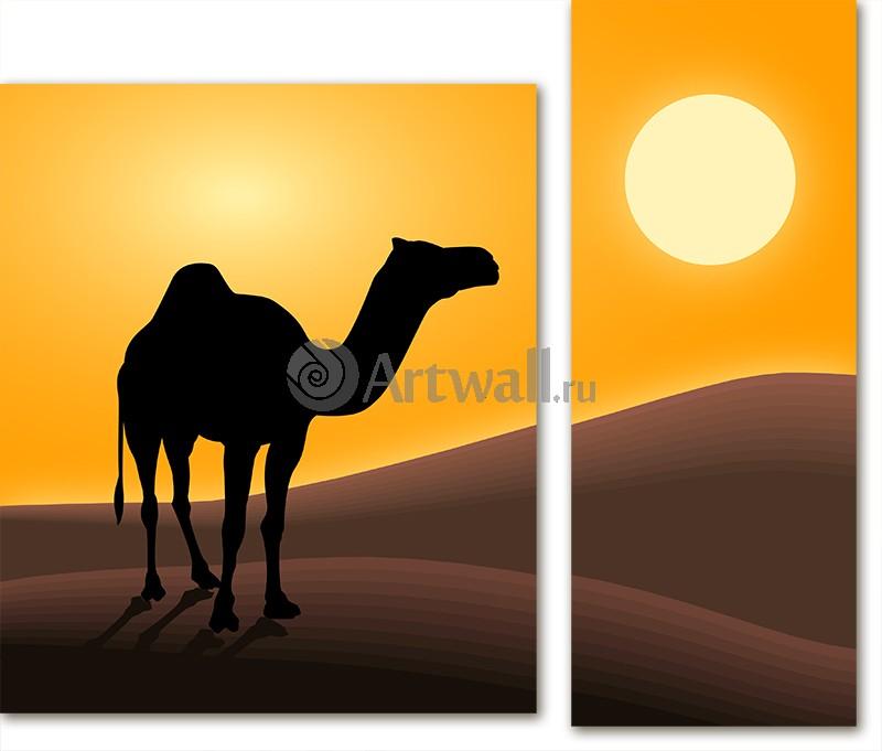 Модульная картина «Верблюд в пустыне»Африканские мотивы<br>Модульная картина на натуральном холсте и деревянном подрамнике. Подвес в комплекте. Трехслойная надежная упаковка. Доставим в любую точку России. Вам осталось только повесить картину на стену!<br>